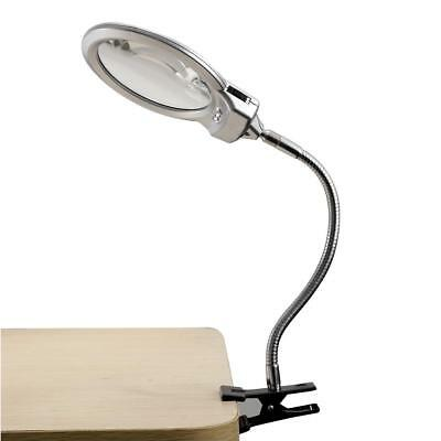 Large Lens Lighted Lamp Top Desk Magnifier LED Light Magnifying Glass With Clamp