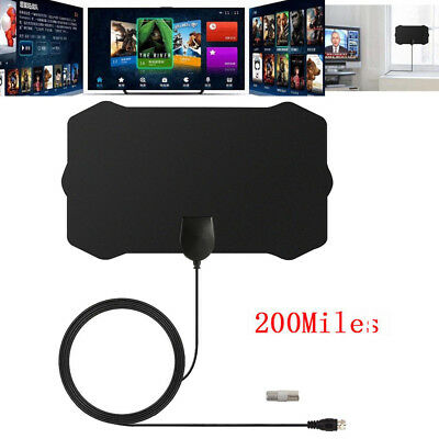 US 200 Mile Range Indoor Antenna TV Digital HD Skywire HDTV 1080p Sky Link Cable