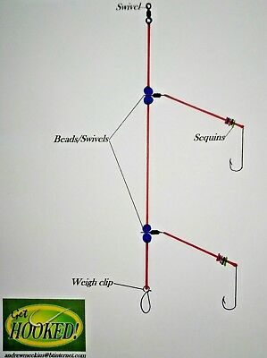 4 X Portsmouth loop sea fishing rig/' made with No4//0 Aberdeen hook/'s