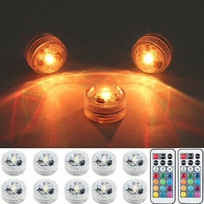 Pack 10 Waterproof Submersible LED Lights Tea Light Wedding Pond Pool Decoration