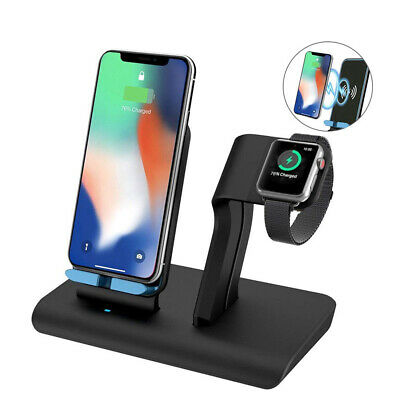 US 2 in 1 Fast Wireless Charging Dock Stand Charger For Apple Watch iPhoneXS Max