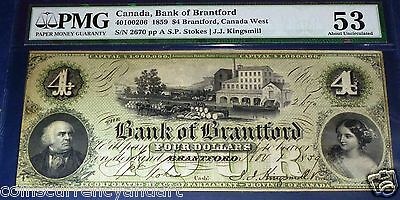 Bank Of Brantford, 1859, $4. ISSUED BANKNOTE , not REMAINDER CATALOGUE #40100206