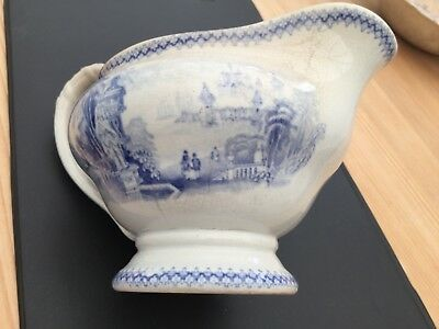 antique milk jug - very old age not known blue transfer