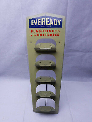 Vintage Store Display counter Eveready Flashlight Tin Lithographed Battery Stand