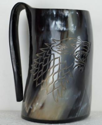 New Game Of Thrones Stark Wolf Viking Drinking Horn Mug Cup Beer Wine Mead AM134