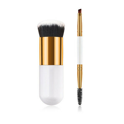 2PCS Cosmetic Brush Face Makeup Brush Powder Blush Brushes Foundation Tool