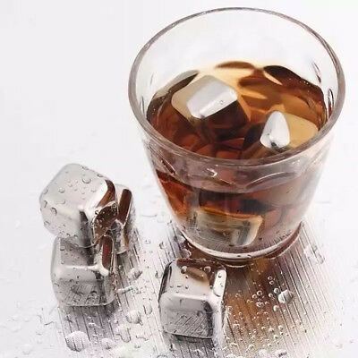 Stainless Steel Ice Cube Whiskey Stones Ice Chiller Cooling Cubes Reusable Rock