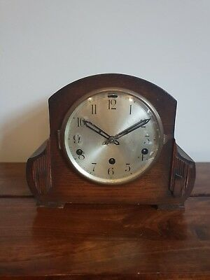 Antique 1930's Oak Westminster Chime Mantel Clock Complete with Pendulum and Key