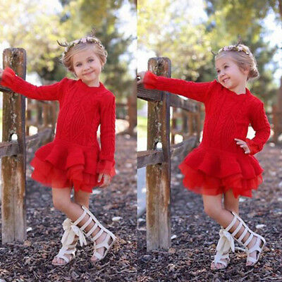 Baby Girls Winter Knitted Sweater Pullover Crochet Ruffle Tutu Dress Top Clothes