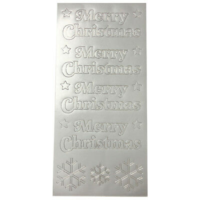 Silver Merry Christmas Sentiment Stars Snowflakes Stickers Peel offs Card Crafts