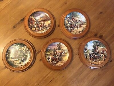 Set Of Five Wedgwood Country Days Collectors Plates With Frames