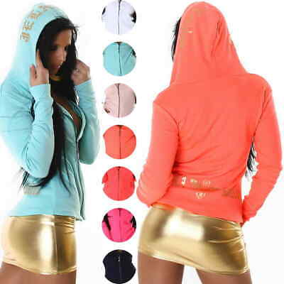 Ladies Hooded Jacket Thin Ribbed Stretch Neon Zip 34 36 38 40 XS S M