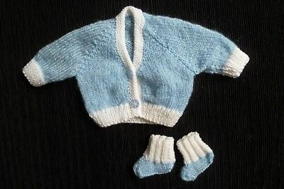 Baby clothes BOY premature/tiny<7.5lbs/3.4kg soft blue/white cardigan/bootees