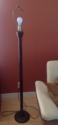 VTG~Mid Century Modern~Solid Teak Floor Lamp~Turned~Danish Style~Without Shade