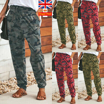 UK Women Camo Cargo Pants Harem Ladies Loose Sports Casual Camouflage Trousers