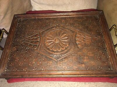 Aesthetic Movement Carved Wooden Serving Tray Lozenge,Floral & Motifs Decoration