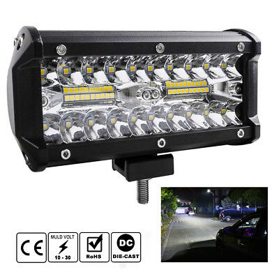 "7"" INCH 400W CREE LED Work Light Bar Flood Combo Driving Off-Road Tractor 4WD"