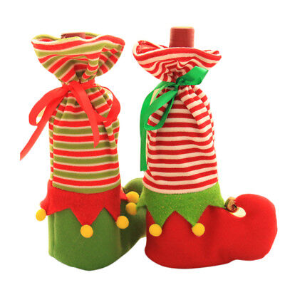 Wine Bottle Cover Bags Elf Sock Candy Gift Pouch Christmas Dinner Table Ornament