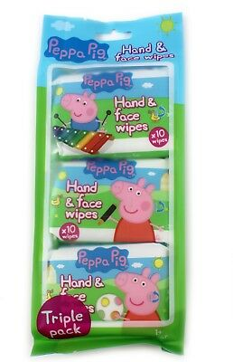 3 Pack Peppa Pig Hand & Face Wipes Kids Baby Children 30 Wipes Towel Tissue