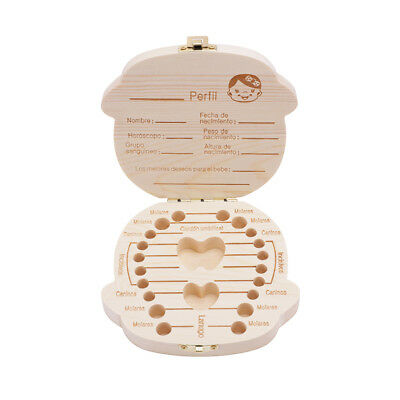 Baby milk teeth box Wooden storage tooth fairy organizer keepsake holder kids