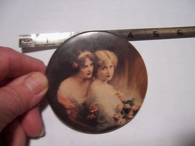 Antique  POCKET PURSE MIRROR PRETTY WOMAN 2  with roses 1900 romance