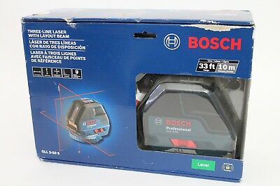 Bosch GLL 3-50 S Three Line Laser with Layout Beam 33' 360 rotational base NEW