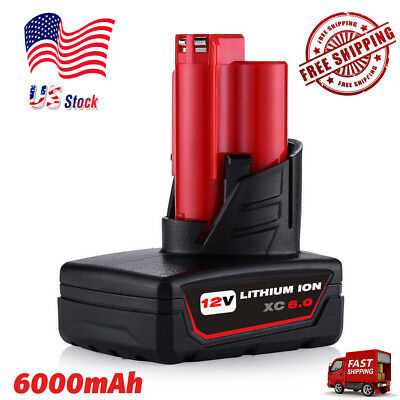For MILWAUKEE 48-11-2460 48-11-2412 M12 XC 6.0 HIGH CAPACITY LITHIUM ION BATTERY