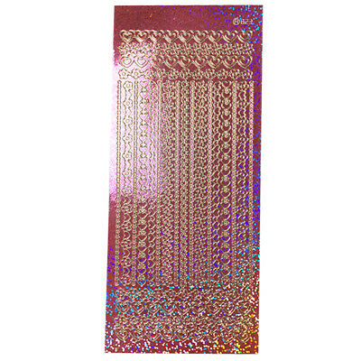 Holographic Purple Hearts Edge Borders Lines Stickers Peel offs Sheet 829