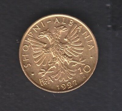 1927 Albania. 10 FR.AR. 900 gold coin. 3.2 gr Rare.  See the Picture. R2  AUNC