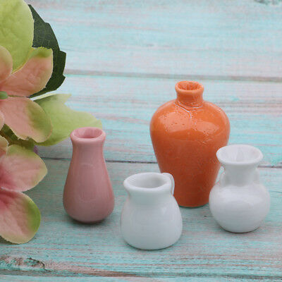 4pcs Dollhouse Miniatures Ceramic Porcelain Chinese Vases Pot Set for 1/12