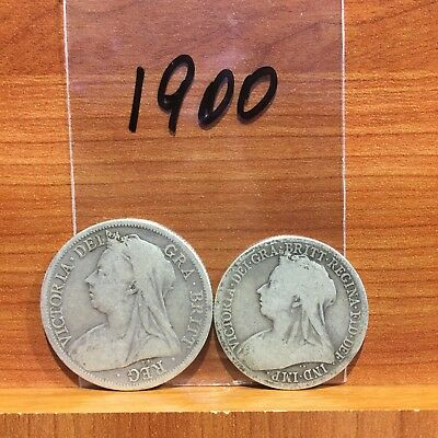 1900 Half Crown and Florin Queen Victoria British Silver 925 Coins lot of 2