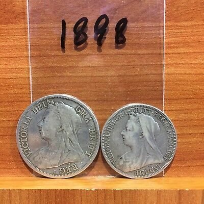 1898 Half Crown and Florin Queen Victoria British Silver 925 Coins lot of 2