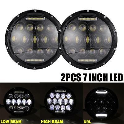 2pcs 75W 7inch Round Led Headlight Projector DRL Hi/Lo Beam For Jeep Wrangler
