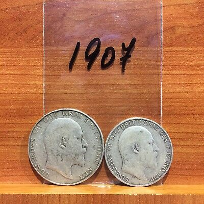 1907 Half Crown and Florin KIng Edward British Silver 925 Coins lot of 2