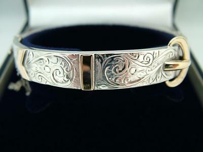 Antique Victorian Solid Sterling Silver And 9Ct Gold Buckle Bangle Bracelet Hg&s