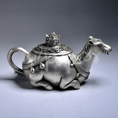 China very fine Tibetan silver hand carved horse statue teapot