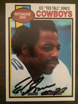 Ed Too Tall Jones Dallas Cowboys Autographed Signed 1979 Topps Card