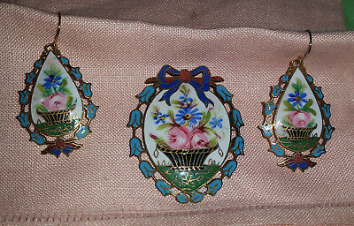 Beautiful French Art Nouveau Champleve Enameled ROSE BUD PIN & EARRINGS SET