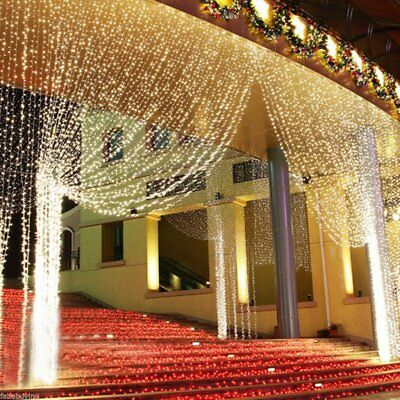 Window Curtain Icicle Lights String Fairy Light 300 600 led Wedding Party UH