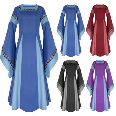 New Women's Medieval Renaissance Vintage Gown Dress Party Costume Cosplay