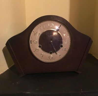 Smiths chiming mantle clock, working order complete with key and pendulum