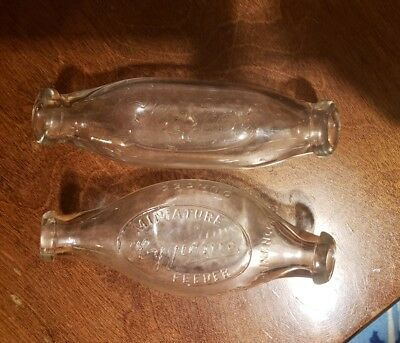 2 Vintage Baby Bottle Glass Dbl End From 1930's Miniature Hygienic Glaxo British