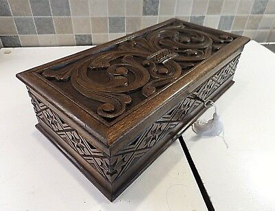 Arts & Crafts Hand Carved Fruitwood Desk Box- Lovely Detail- Working Lock & Key