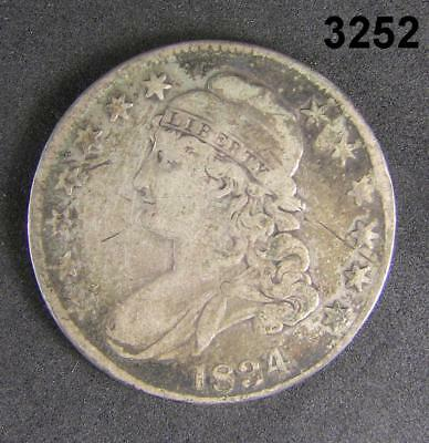 1834 Bust Half Dollar Early Date Vg With Some Slight Damage #3252