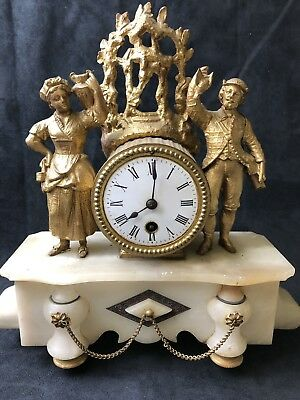 Antique 19th c French Figural Marble Mantle Clock -