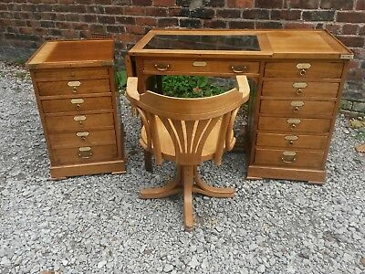 antique style campaign desk/filing drawers/chair UK delivery