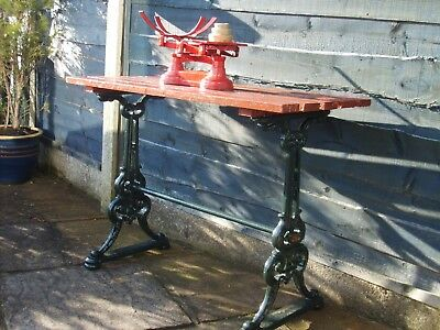 Victorian cast iron table with slatted hardwood top