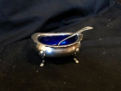 Hallmarked Birmingham Silver Salt And Blue Liner with plated spoon