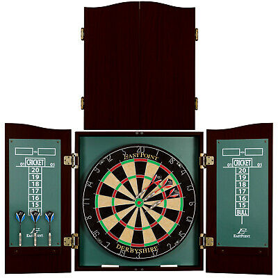 DARTBOARD CABINET SET Play Game Room Sports Man Cave Dart Board Official  Size