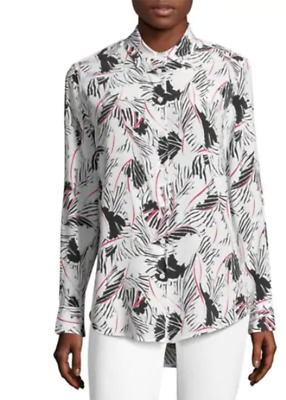 9f08a9ac6cffcd Equipment Essential Abstract Print Silk Button Down White Shirt Blouse